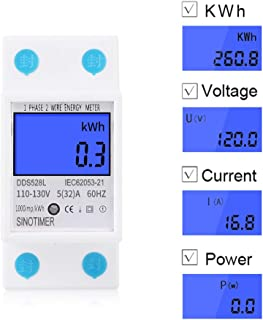 SINOTIMER DDS528L Household DIN Rail 110V 5(32) A 60Hz Multifunctional Single Phase LCD Digital Electric Wattmeter KWH Meter with Backlight