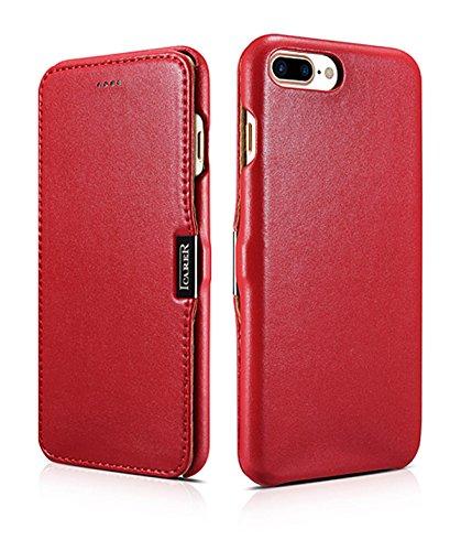 ICARER Hülle passend für Apple iPhone 8 Plus und iPhone 7 Plus (5.5 Zoll), Handyhülle mit echtem Leder, Case, Schutz-Hülle klappbar, dünne Handytasche, Slim Cover, Rot
