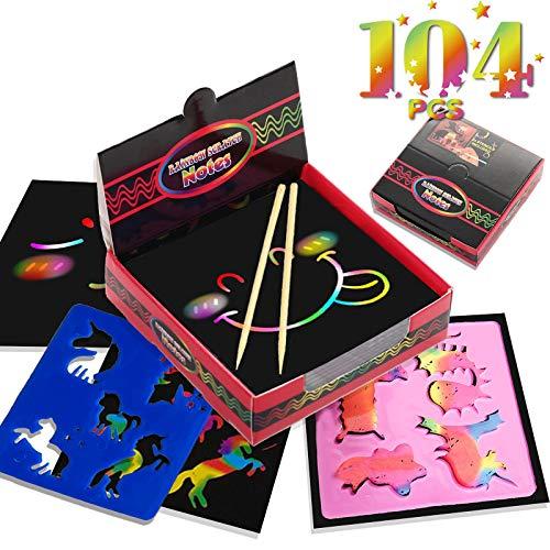 WINMIU 104 Pcs Scratch Art for Kids - Rainbow Mini Scratch Paper - Scratch Note Art Set Include...