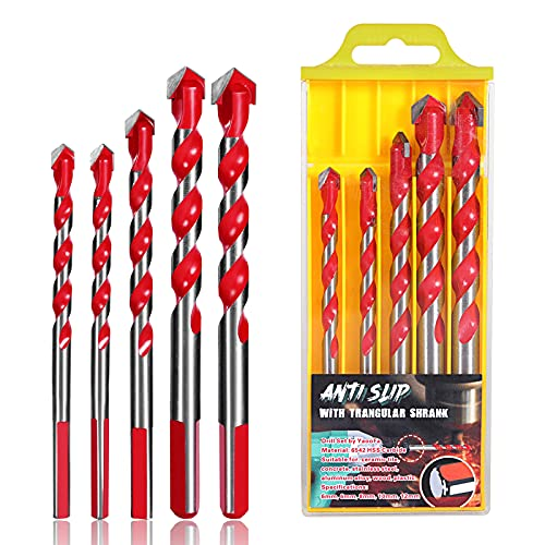 5Pcs Ultimate Triangle Drill Bits Set, Multifunctional Twist Drill Bit Tungsten Carbide Drill Bit Tip Punching Hole Working Tools for Tile,Concrete, Brick, Glass, Plastic, Wood and Ceramic