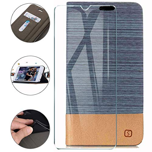 HYMY Hülle für Nubia Red Magic 5G Lite + Schutzfolie - Einfacher Stil Leinwand-Stitching PU Lederhülle Flip mit Card Slot Handyhülle Case für Nubia Red Magic 5G Lite - Light Blue
