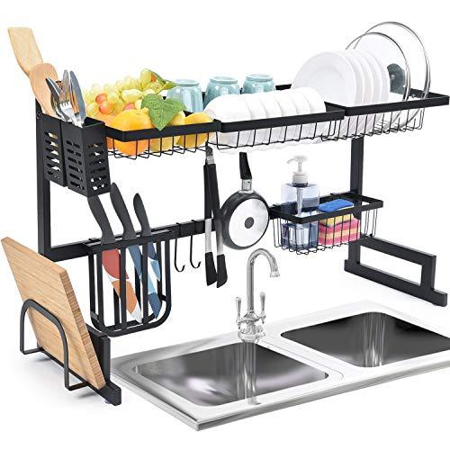 Kingrack Abtropfgestell für die Spüle, 2 Ebenen, großes Fassungsvermögen, Geschirrregal, zum Organisieren von Geschirr, mit Haken für Utensilien, Küchenarbeitsplatte, Aufbewahrung für Teller