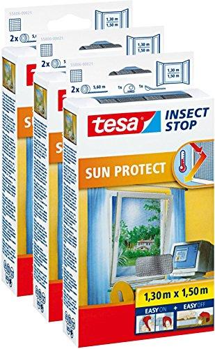 3 Stück tesa Fliegengitter für Fenster inkl. Sonnenschutz, beste tesa Qualität, 1,3m x 1,5m