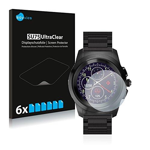 Savvies 6X Schutzfolie kompatibel mit MyKronoz ZeTime Elite Regular (44 mm) Bildschirmschutz-Folie Ultra-transparent