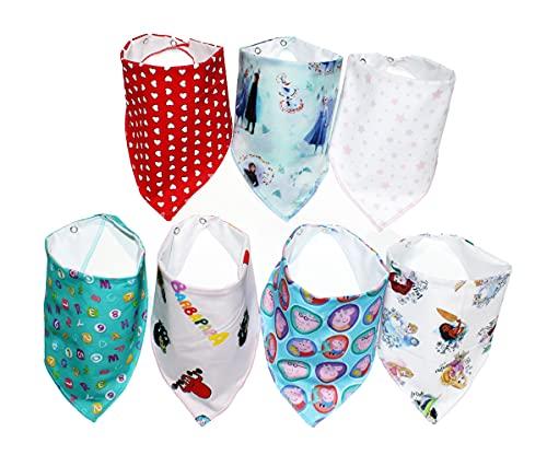 Bavaglino Neonato (0-36 mesi) Made in Italy Bavaglini Bandana con 2 Bottoni a Pressione, 100% Cotone Biologico,Super Assorbenti & Morbidi,Bambino Drool Bavaglini per Ragazzi e Ragazze (7 Pezzi) (GIRL)