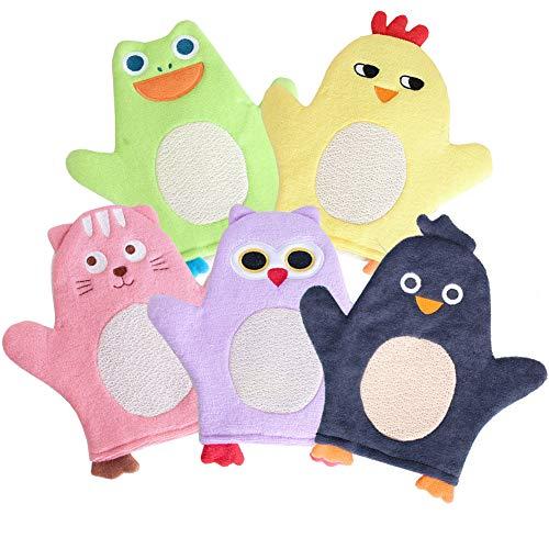 Bath Sponge for Kids Cute Animal Shower Bathing Mitt Loofah Soft Wash Sponge Body Scrub for Baby Toddler (Set of 5)