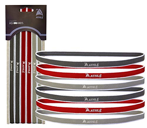 Athlé Skinny Sports Headbands 6 Pack - Men's and Women's Elastic Hair Bands with Non Slip Silicone Grip - Lightweight and Comfortable Sweatbands Keep You Cool and Dry – Red, Dark and Light Grey
