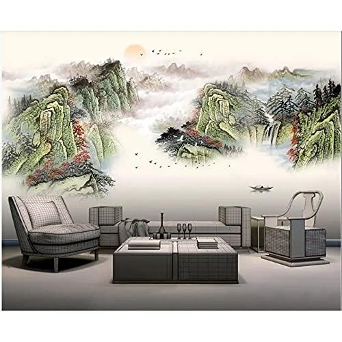 Murale 3d murale appeso alla parete in stile cinese pittura a inchiostro a colori paesaggio foto carta da parati soggiorno 450X300 cm