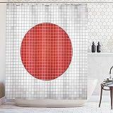 ABAKUHAUS Duschvorhang, Mosaik Flagge Japan Grunge Fraktal Hintergr& Symmetrischer Wertiger Moderner Grafikdruck, Blickdicht aus Stoff mit 12 Ringen Waschbar Langhaltig Hochwertig, 175 X 200 cm