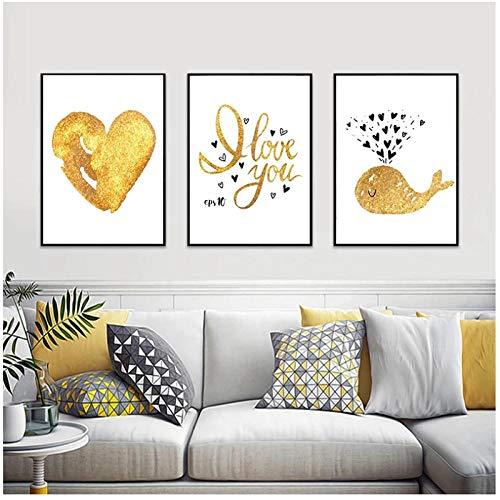 BINGJIACAI I Love You Gold Heart Love Poster Print Gold Wall Art Canvas Painting Wall Art Picture Sala de estar moderna Decoración para el hogar-40x60cmx3 Sin marco