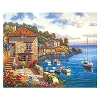 数字油絵 大人の子供のための数字でペイントされている子供DIY手塗り油絵の街の風景写真ペイント家の装飾 (Color : 99308, Size(cm) : 20x20cm no frame)