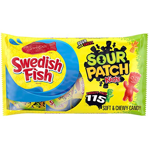 SOUR PATCH KIDS Candy & SWEDISH FISH Candy Variety Pack, Christmas Candy, 115 - 0.5 oz Snack Packs