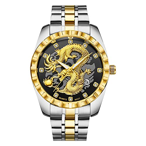 Reloj casual de moda para hombre 3D tridimensional chino Dragon Spit Bead Golden Light Luxury Youth Watches, juego completo gratuito de kits de reloj 4
