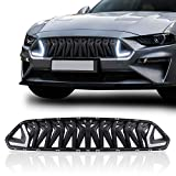 LED RTR Front Bumper Grill Grille for 2018 2019 2020 Ford Mustang w/LED White Lights Grilles - Shark/Armor Style Mustang grill