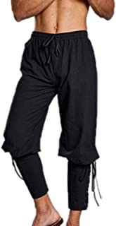 keepwo Men's Medieval Trousers Mens Ankle Banded Gothic Trouser Viking Renaissance Cosplay Linen Costume