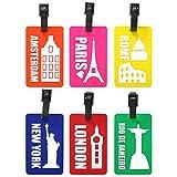com-four 6 Kofferanhänger aus flexiblem Kunststoff in bunten Farben, Gepäckanhänger zum beschriften mit Städte Motiven (06 Stück - Städtenamen)