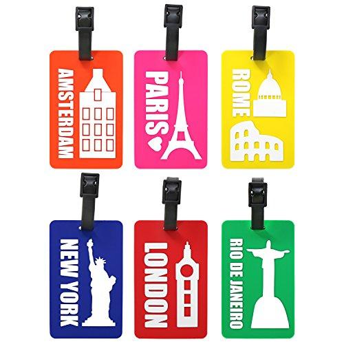 com-four® 6 Kofferanhänger aus flexiblem Kunststoff in bunten Farben, Gepäckanhänger zum beschriften mit Städte Motiven (06 Stück - Städtenamen)