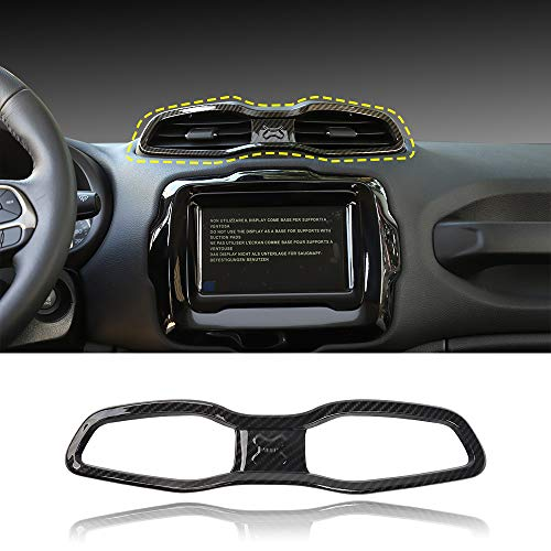 for Jeep Renegade 2016-2020 ABS Carbon Fiber Trim Air Conditioner Outlet Vent Central Console Accessories, 1 pc