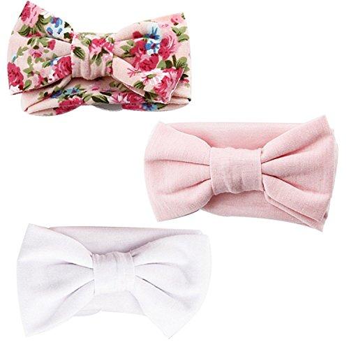 MultiWare 3pcs Newborn Headband Cotton Elastic Baby Print Floral Hair Band Bow knot