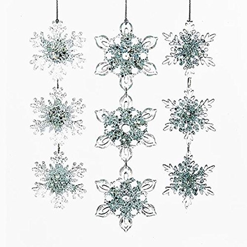 Kurt Adler ICY BLUE THREE SNOWFLAKE DROP ORNAMENT - 3 ASSORTED