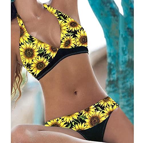 XUEMEI Bikini De Mujer Moda De Verano Impresión De Girasol Sexy Cuello En V Tubo Top Halter Halter Halter Halter Cintura Alta Hip Bikini Conjunto De Dos Piezas (Color : YE, Size : L)