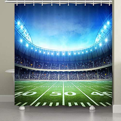 JAWO American Football Stadion Duschvorhang Fußball Stadion Arena Feld Spielplatz Sport Dekor Fans Duschvorhänge Badezimmer Dekor Wasserdicht Polyestergewebe mit Haken 174 x 178 cm