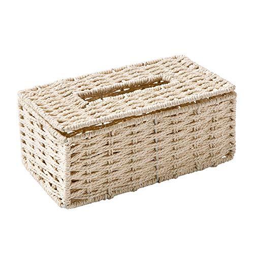 WANCR Rechteckige Rattan-Tücherbox für den Schreibtisch, zur Aufbewahrung von Papierhandtüchern, Aufbewahrungsbox, Halter für Heimdekorationen (Beige)