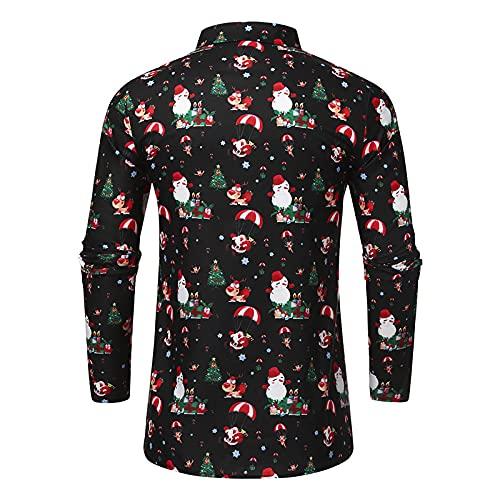 Mengove Camisa De Manga Larga con Estampado De Ciervos NavideñOs con Copos De Nieve Casuales para Hombres Blusa Superior