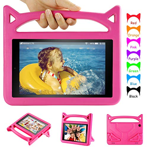 Fire 10 Tablet Case, 2019 Fire HD 10 Case(Not for The 2021 Release)-Auorld Light Weight Kids Proof Case with Stand for Kindle Fire HD 10 Tablet(9th Generation)-Rose