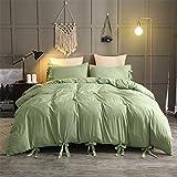 guangtou Juego de ropa de cama de 10 colores de algodón sintético lavado suave con funda de almohada individual, doble, queen, king size, juego de ropa de cama, 228 x 228 cm (3 piezas)