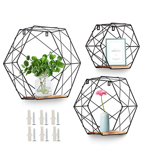 AGSIVO Wall Mounted Hexagonal Floating Shelves Farmhouse Storage Shelves for Wall,Bedroom, Living...