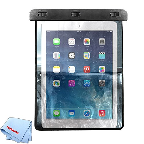 Tronixpro Universal Waterproof Bag for Apple iPad Air, iPad 2,3,4, Pro (2017), Lenovo Tab 4, Samsung Galaxy Tab S3. LG G Pad III, and Other Tablets up to 11 inches + Microfiber Cloth