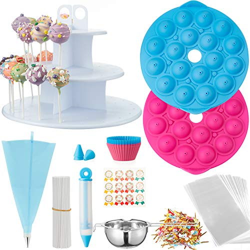 Cake Pop Maker Set with Molds Silicone Cake Pop Sticks and Bags 3 Tier Cake Pop Stand Chocolate Melting Pot Handmade Stickers Cake Pop Kit for Kids with Recipe Decorating Pen Twist Ties-420 PCS