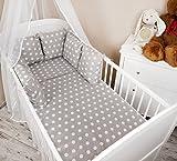 Amilian® Baby Bettwäsche Design: Pünktchen grau Nestchen Bettset 100x135 für