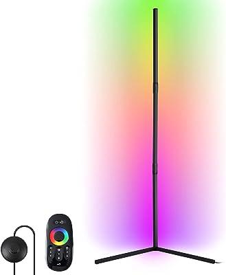 LED Stehlampe Dimmbar,YISUN RGB Eck Standleuchte Farbwechsel mit Fernbedienung, Stehleuchte mit 356 beleuchtungsmodi, einstellbare Helligkeit LED-Ecklampe für Schlafzimmer Wohnzimmer ,Schwarz, 20W