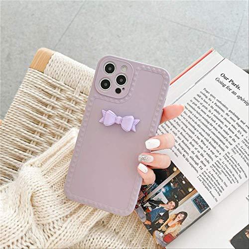 Funda de teléfono con Lazo de Color Caramelo 3D para iPhone 12 Mini 11 Pro MAX 7 8 Plus X XR XS MAX SE 2020 Funda Fundas Blandas de Silicona Linda Capa para-iphone7plus QY199-2