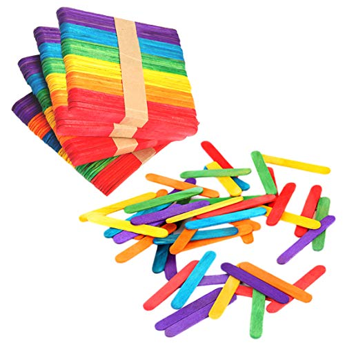 "200 Colorful Craft Sticks Natural Wooden 4-1/2"" Length"