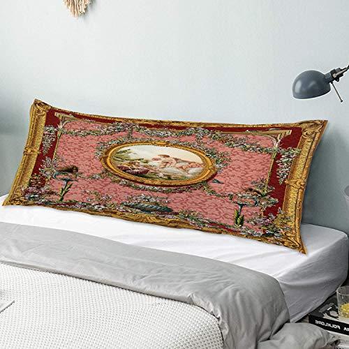 Funda de almohada para el cuerpo Diseño de ángel victoriano antiguo en tonos pastel Funda de almohada larga de 50 cm x 135 cm, suave y acogedora, lujosa y sedosa microfibra con cremalleras para el