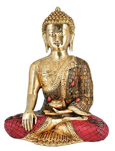 White Whale Brass Buddha Statue Astmangal Buddhism Idol feng Shui Home Decorative Showpiece (12 Inches)