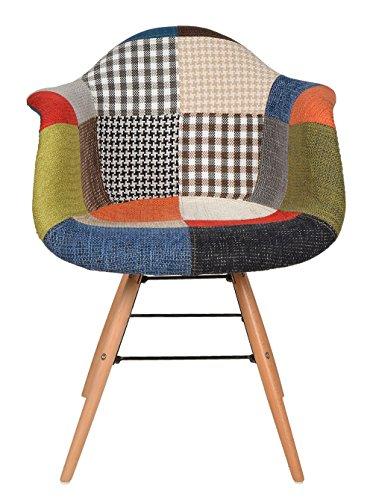 ts-ideen 2er Set Design Klassiker Patchwork Sessel Retro 50er Jahre Barstuhl Wohnzimmer Küchen Stuhl Esszimmer Sitz Holz Metall bunt