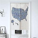 防炎白のれん 80X90CM 手描き米国地図スケッチ表示落書き地図作成ノート教育 カーテン カーテン 半遮光 おしゃれ リビング用 間仕切り 黒のれん 京都 のれん スターウォーズのれん