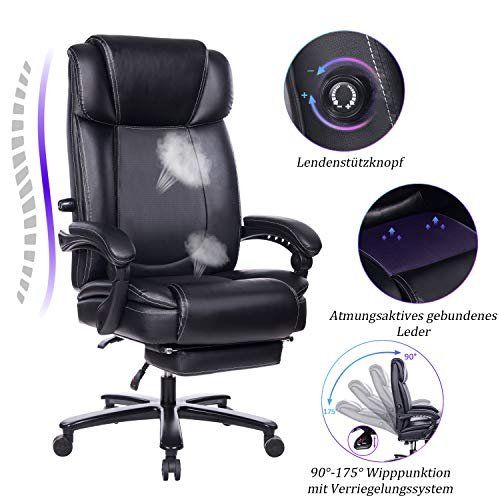 Breiter und hoher verstellbarer Leder Bürostuhl - Metallbasis Computer-Schreibtischstuhl mit hoher Rückenlehne und einstellbarer integrierter Lendennstütze, Winkelverriegelungssystem und Fußstütze