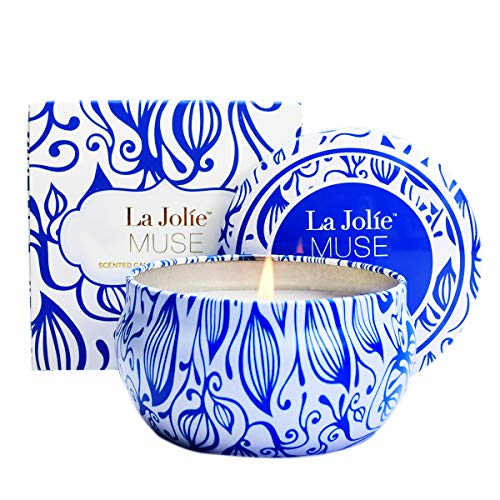 LA JOLIE MUSE Citronella Candle Outdoor - Scented Natural Soy Wax Candle Travel Tin Indoor Gift, 6.5 oz