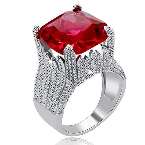 Uloveido Charm Forma de Llama para Mujer Super Big Square Red CZ Wide Wedding Band Declaración Anillos de Compromiso RA0414