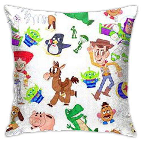 Used Throw Pillow Covers Toy Story Scrawl-Square Shape Decorative Cushion Cover for Couch Sofa Pillow Set Fundas para Almohada 22x22Inch(55cmx55cm)