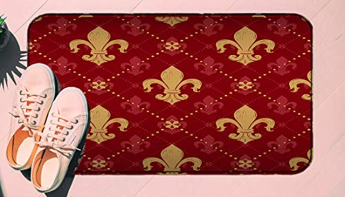 DIIRCYB Fu?matte Indoor Outdoor Rutschfeste waschbare Fu?matte,Heraldic Red Lis Expensive Kingly Gold Lily Lys Fleur Pattern Medieval King France Empire Design,Diy Cropping Teppich,For Home Kitchen Be