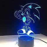 HYDYI Anime Sonic The Hedgehog Figura 3D Lámpara De Mesa Efecto De Flash 7 Colorido Acrílico Ilusión Visual Luces Led para Niños Niños Lámpara De Sueño