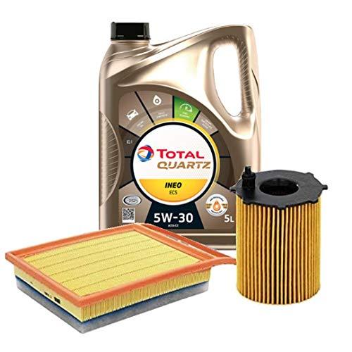 2parts Olio Motore per Auto Total Quartz INEO ECS 5W30 5 Litri, con Filtro Olio e Filtro Aria (529E/207)