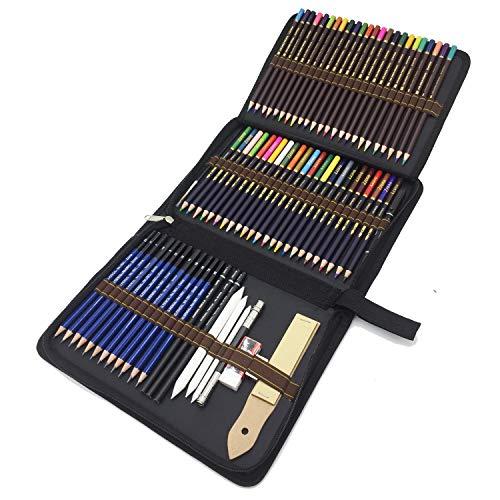 Crayons de Dessin, 72 pcs Crayon de Croquis et Crayons de Couleur -Taillés pour Coloriage et Dessin - Cadeau Idéal pour Artistes, Adultes et Enfants