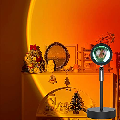 Sunset Projection Lamp,180 Degree Rotation Rainbow Projection Lamp USB Charging Lighting, Romantic Sunset Lamp for Self-Media Light, Romantic Family Atmosphere Light for Adults, Couples, Bedroom